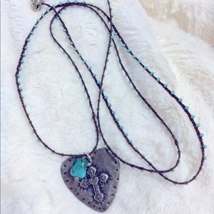 Silver heart w embossed cross & turquoise bead